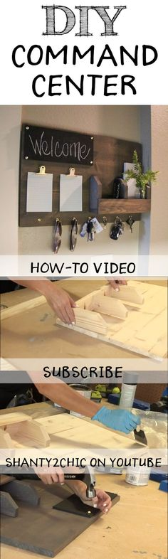 DIY Command Center – Shanty 2 Chic Perfect way to organize all of your junk! Build this DIY Command Center with this how-to video and free printable plans from Diy Wood Projects, Home Projects, Home Crafts, Diy Home Decor, Diy Kitchen Decor, Kitchen Dining, Woodworking Plans, Woodworking Projects, Creation Deco