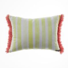Beautifully representing the sun sea and sand of Bondi Beach, this colourful cushion has fringing at each end to add something a little different to the look.