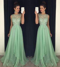 Elegant Prom Dresses, Chiffon beads A line Prom