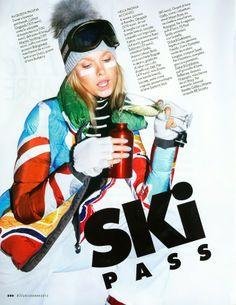 """""""Ski Pass"""": Nyok & Karo by Mark Pillai for Elle Italia December 2012"""