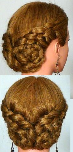 4 strand lace braid updo - link is to video tutorial done by womenbeauty1 on youtube