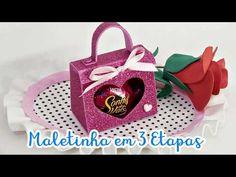 DIY: Serie Dia das Mães opção #4 - Maletinha (Bolsa) - YouTube Valentine Crafts, Valentines, Explosion Box, Diy Car, Chocolate Box, Paper Gifts, Gift Packaging, Diy Flowers, Craft Gifts