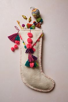 Pom Tassel Stocking #anthropologie