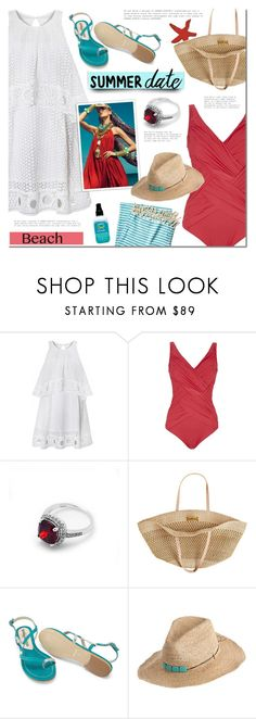 """""""Summer date"""" by mada-malureanu ❤ liked on Polyvore featuring Gottex, Flora Bella, Olsen, Hat Attack, Turkish-T, beach, ring, jewelry, summerdate and jewelryartisan"""