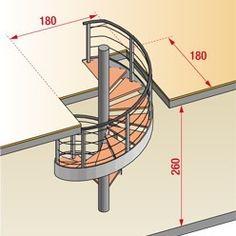 Calculer la taille dune trémie nécessaire à la pose dun escalier hélicoïdal Spiral Staircase Plan, Staircase Outdoor, Spiral Stairs Design, Stair Plan, Home Stairs Design, Interior Stairs, Tiny House Stairs, House Staircase, Escalier Art