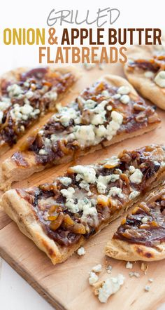 Sweet, savory, and unexpected: these Grilled Caramelized Onion, Blue Cheese, and Apple Butter Flatbread come together in a flash, and make the perfect summer meal.