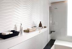 Elegant White Zen Bathroom Wall Tiles with glass shower cubicle Modern White Bathroom, Zen Bathroom, White Bathroom Tiles, Bathroom Tile Designs, Modern Bathrooms, Small Bathrooms, Bathroom Vanities, Bathroom Ideas, Ikea Deco