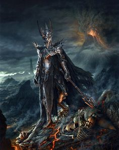 this a very good picture of the darkness of Sauron with mount doom discharging flame and a cloud of dark ash which spreads even to the far off horizon leaving behind death and destruction.