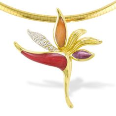 Yellow Gold Bird of Paradise Pendant with Spiny Oyster Inlay and Diamonds (Chain Additional) - Necklaces & Pendants - Jewelry Bird Jewelry, Photo Jewelry, Gemstone Jewelry, Jewelery, Jewelry Accessories, Jewelry Design, Gold Jewellery, Hawaiian Heirloom Jewelry, Hawaiian Jewelry