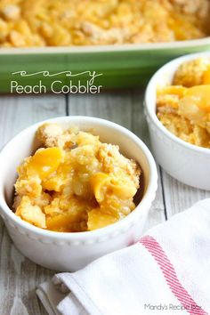 Easy Peach Cobbler that takes less than five minutes to prepare and tastes like heaven!