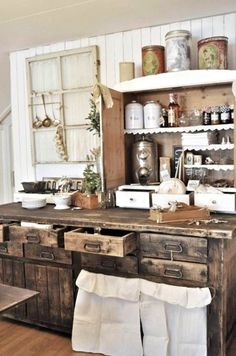OMgosh! I love this for a rustic kitchen! Could probably make from pallets!