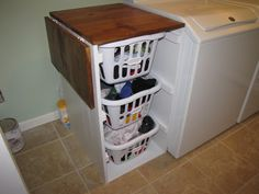 Built in fold down laundry shelf | Shorter Brook laundry basket dresser with folding table