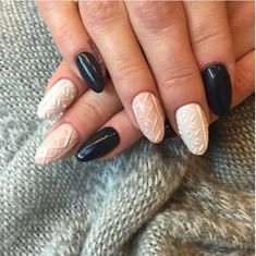 Nude and Black 3d sweater nails