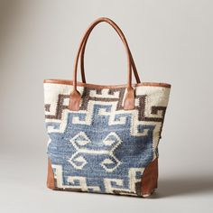 ELSA WOVEN TOTE--This hand-woven bag is an inspired combination of Native American techniques and peaceful Nordic design.