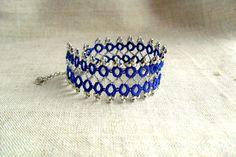 Blue and silver elegant bracelet, handmade tatting lace, filigree lace, ready to ship