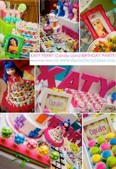 KATY PERRY Candy Land + Sweet Shoppe themed birthday party via Karas Party Ideas Rainbow Paint Party Picnic Themed Birthday Party via Ka. Candy Theme Birthday Party, Music Theme Birthday, Candy Land Theme, Music Themed Parties, Candy Party, Birthday Parties, Birthday Ideas, Birthday Stuff, Cake Birthday