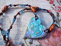 Pentacle Necklace Clay Heart Handmade Beaded Jute Pagan Wiccan Hippy Boho OoAK