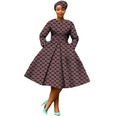African Dress Women Full Sleeve Calf-Length Ball Grown Casual Dress with Scarf African Bridesmaid Dresses, African Wear Dresses, Latest African Fashion Dresses, African Attire, African Print Pants, African Print Clothing, African Print Fashion, African Prints, Setswana Traditional Dresses
