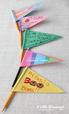 These decorative pencils make a statement AND are simple to make! Girls can wave them about while taking cookie orders.