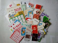100  fun and games ephemera  paper game pieces  mixed by GTDesigns