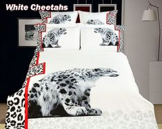 Dolce Mela - White Cheetahs Twin Size 4 Pieces Duvet Cover Set Animal Themed Luxury Bedding Set (Pack of Queen Size Bed Sets, Queen Size Duvet Covers, Bed Duvet Covers, Queen Duvet, Queen Size Bedding, Duvet Sets, Duvet Cover Sets, Leopard Bedding, Duvet Bedding