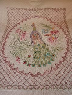 vintage quilt coverlet peacock all hand embroidered by brixiana, $175.00