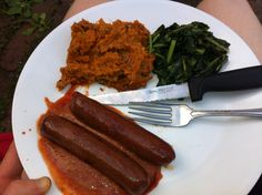 The Primal Burgher makes a great meal - Beyond Organic Hot Dogs, Sweet Potato, greens... DELISH!!!!
