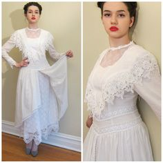 Vintage 1980s  White Cotton and Lace Wedding or Party Dress Neo Edwardian / 80s does Edwardian White Split Skirt Dress Westminster / Small by BasyaBerkman on Etsy