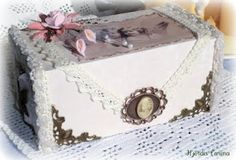 altered box #altered #box flowers #lace