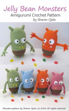 "Read ""Jelly Bean Monsters Amigurumi Crochet Pattern"" by Sharon Ojala available from Rakuten Kobo. Crochet pattern for a Jelly Bean Monster. This Amigurumi monster is based on a drawing of the author's son. Cute Crochet, Crochet Crafts, Crochet Projects, Sewing Projects, Crochet Patterns Amigurumi, Crochet Dolls, Crochet Yarn, Halloween Crochet Patterns, Crochet Animal Patterns"