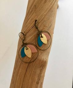 Boucles d'oreilles - cuir - bronze