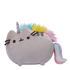 Gund is proud to present Pusheen, the adorable internet sensation, as a new line of collectibles! Bring home the chubby gray tabby cat as this soft and cuddly large Pusheeinicorn plush! It's too cute