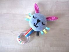 Happy Bunny Baby Toy Sensory Tag Rattle Bunny by MadeByEdenGrace