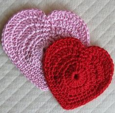 Pink and Red Crocheted Hearts   FaveCrafts.com