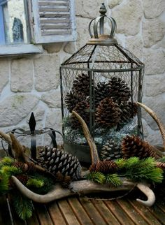 Antlers + Pine Cones + Metal Crown + Mesh Lantern = will make the perfect centerpiece!
