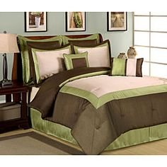 Green And Brown Bedroom Fair Central Park Owen 8Piece Luxury California King Comforter Set Decorating Design