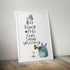 Quote Totoro trumpet, young sprout seed, mythical forest spirit, Anime fantasy film - Cross-stitch PDF pattern - Instant digital download by Up2XStitch on Etsy