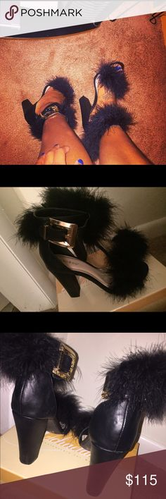 Fashion fur heels  only worn once. Beautify fur heels! Thick heel, very comfy Shoes Heels