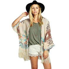 Vintage  Kimono Cardigan Fringe Tassel Cardigan Shawl Position Print Loose Kimono