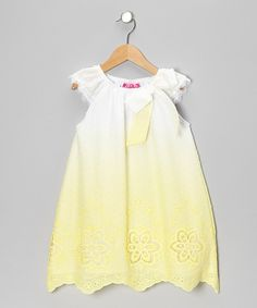 Another great find on #zulily! White & Yellow Angel-Sleeve Dress - Toddler by Haute Baby #zulilyfinds