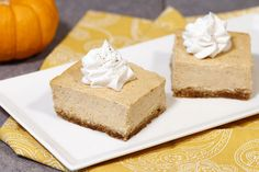 Hungry Girl's Healthy Great Pumpkin Cheesecake Bars Recipe-made these T-Day 2016, worth messing with (Crust very peanut buttery for a pumpkin cheesecake) but so good! Best Pumpkin, Healthy Pumpkin, Spiced Pumpkin, Pumpkin Spice, Pumpkin Cheesecake Bars, Pumpkin Bars, Recipe Makeovers, Hungry Girl Recipes, Recipe Girl