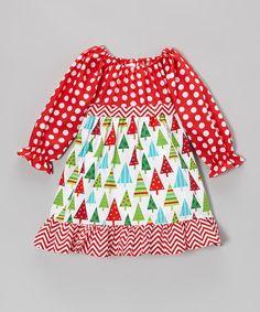 Take a look at this white christmas trees pattycake tie back dress