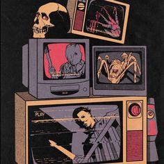 Trick Or Treat? — Art by austinpardunart 🕸 Halloween Wallpaper Iphone, Fall Wallpaper, Halloween Backgrounds, Arte Horror, Horror Art, Horror Movies, Halloween Artwork, Halloween Prints, Halloween Horror