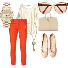Pop of orange + retro glasses + scalloped flats. Need all of this in my wardrobe!