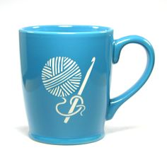 CROCHET HOOK Coffee Mug - SKY BLUE- 16 oz - Microwave-safe Engraved Stoneware. Crocheting and drinking coffee or tea is the perfect afternoon. Microwave-safe and dishwasher-safe. We carved all the way through the bright, colorful glaze of this extra large CROCHET HOOK mug so that the bold natural stoneware ceramic can be seen. Engraving will never wear or stain. Other colors may be available. Food-safe! Glaze you can feel good about: meets CA's Prop 65 limits for leaching of lead…