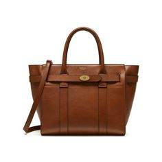 2017 New Mulberry Small Zipped Bayswater Tote in Oak Small Classic Grain
