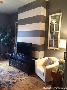 Do you like the Stripped wall? (Living Room Accent Wall: This striped accent wall highlights architectural elements in this space) Striped Accent Walls, Chevron Walls, Interior Exterior, Interior Design, Accent Walls In Living Room, Home And Deco, Diy Home, Home Decor Inspiration, My Dream Home