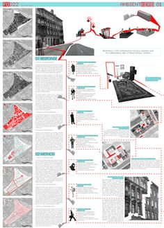 Europan 10 - Warsaw 'Ambient Kerb' - Competition Winning Entry produced in collaboration with MMASA Arquitectos, La Coruna, Spain map red path route Site Analysis Architecture, Architecture Panel, Architecture Graphics, Architecture Student, Architecture Portfolio, Architecture Diagrams, Presentation Techniques, Project Presentation, Presentation Layout