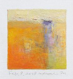 Il s'agit d'une peinture à l'huile abstraite par Hiroshi Matsumoto Titre : 9 février 2018 Taille : 9,0 cm x 9,0 cm (environ 4 x 4) Toile taille : 14,0 cm x 14,0 cm (env. 5,5 x 5,5) Technique : Huile sur toile Année : 2018 Peinture est feutré en écru pour s'adapter à cadre standard