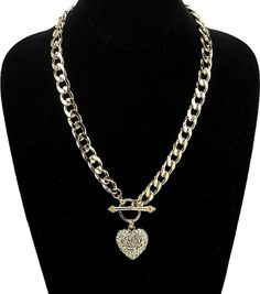 "FASHION GOLD ""I LOVE YOU"" HEART PENDANT NECKLACE- 24"""